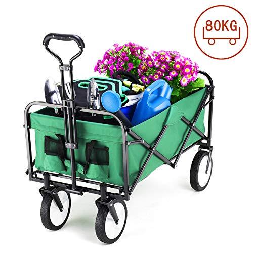 GIGALUMI Faltbarer Bollerwagen grün Gartenwagen 360° drehbar Handwagen bis 80kg belastbar geeignet für alle Gelände