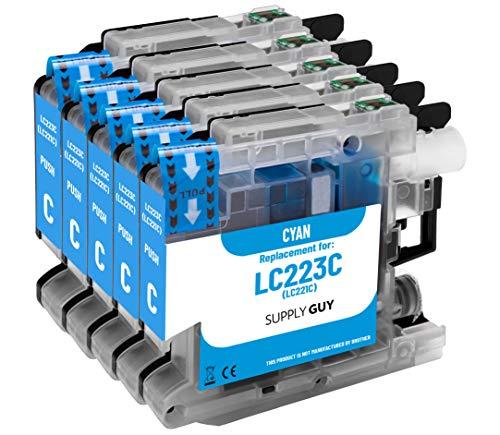 Supply Guy 5 Druckerpatronen kompatibel mit Brother LC223 LC-223XL LC-225 LC-227 Cyan mit Chip und Füllstandsanzeige für MFC-J5320DW MFC-J5620DW MFC-J480DW DCP-J4120DW DCP-J562DW und weitere