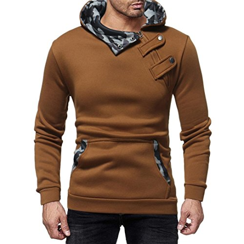 vermers Heren Rits Slim Lange Mouw Hoodie - Heren Herfst Winter Casual Camouflage Sweatshirt Top Blouse