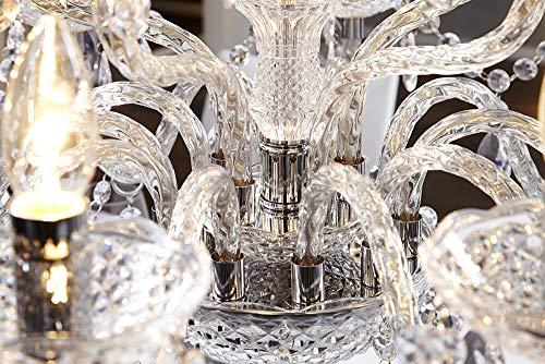 15-flammiger XL Kronleuchter CRYSTAL Lüster mit Acrylglas Prismen klar Hängelampe Barock Hängeleuchte E14 15-armig - 5
