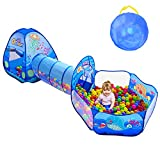 3PC Kids Play Tent with Ball Pit, Play Tunnel, Basketball Hoop for...