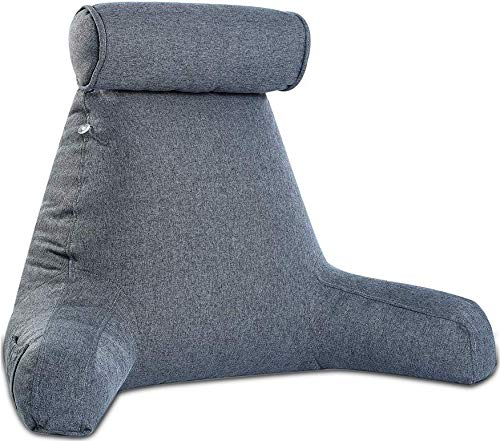 Reading Pillow- Shredded Memory Foam with Detachable Neck Roll Pillow - Bed Backrest