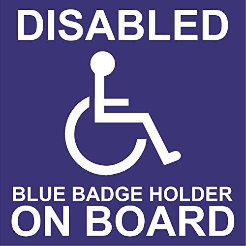 handicapés Badge bleu Support on Board – Autocollant pour voiture – 110 mm x 110 mm (externe)