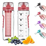 Opard Water Bottle with Time Marker, 30 oz Sports BPA Free Plastic Reusable Fruit Infuser Water Bottles with Handle, Leak Proof Flip Top Lid, Infusion Rod, Cleaning Brush and Recipe (Red)