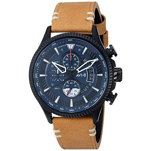 AVI-8 Men's 45mm Brown Genuine Leather Band Steel Case Quartz Blue Dial Analog Watch AV-4064-01