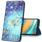 MRSTER Xiaomi Redmi 7A Handytasche, Leder Schutzhülle Brieftasche Hülle Flip Hülle 3D Muster Cover Stylish PU Tasche Schutzhülle Handyhüllen für Xiaomi Redmi 7A. YB Gold Butterfly