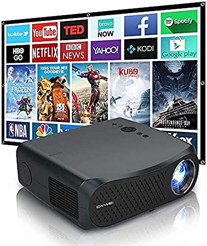 Proyector de Video inalámbrico Full HD 1080P Nativo con Bluetooth 4.2 WiFi Proyector de películas LED HDMI USB 7000 lúmenes Compatible con teléfono Inteligente Laptop DVD PC Playstation Fire