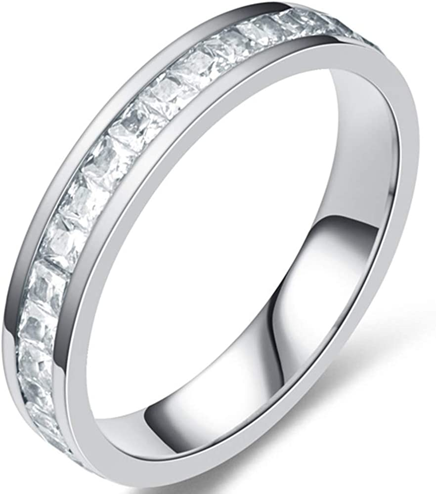 Limited time cheap sale Jude Jewelers 6mm Stainless Steel Princess Stone Inlay Memphis Mall CZ Cut Et