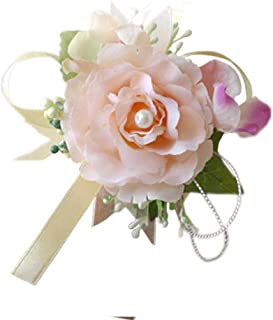Arlai Set of 2,Wrist Corsage Wristband Roses Wrist Corsage for Prom, Party, Wedding Champagne