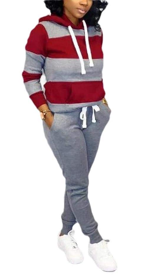 賞賛品種ワット女性ストライプスウェットシャツトラックスーツプルオーバーとパンツジョギングスーツ