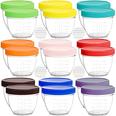 Youngever 18 Pack Baby Food Storage, 2 Ounce Baby Food Containers with Lids and Labels, 9 Assorted Colors