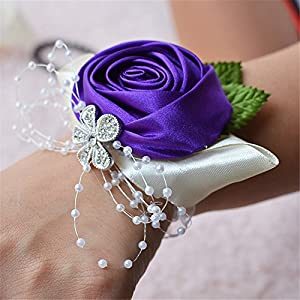 Jackcsale Wedding Bridal Corsage Bridesmaid Wrist Flower Corsage Flowers for Wedding Purple Pack of 2
