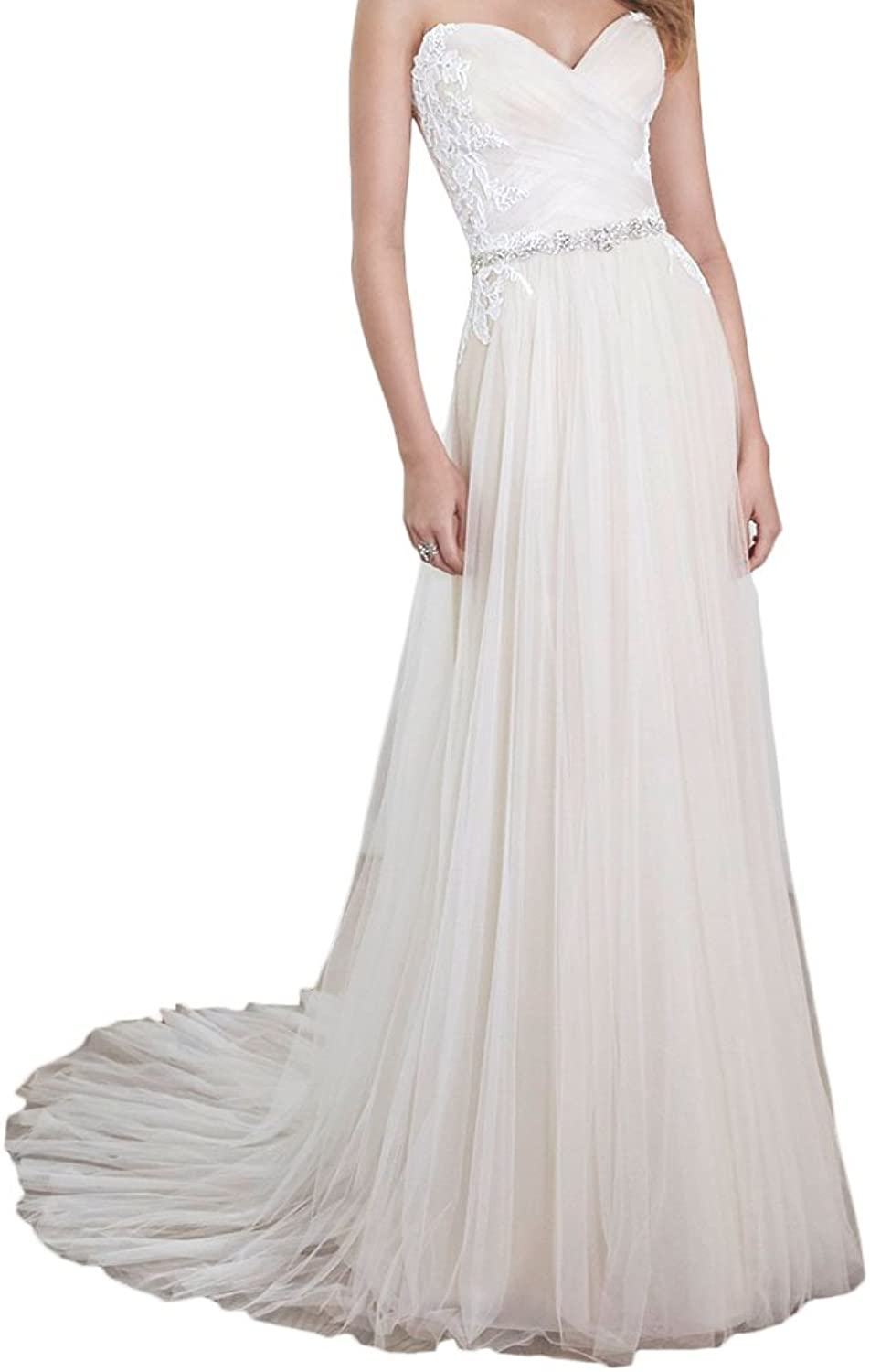 Alexzendra Simple Wedding Dress For Bride 2017 Tulle A Line Wedding Dress Plus Size With Belt White Applique