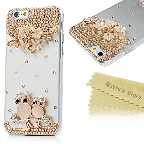 iPhone 6/iPhone 6 Plus - Mavis's Diary® caso 3D brillantes cristal diamantes brillantes cubierta flores de búhos duro plástico para el iPhone 6 11,94 cm 1 x enchufe a prueba de búho con purpurina, Case, iPhone 6 4,7''