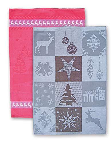 Ross - Geschirrtücher Weihnachtsmotive Rot/Grau, 2er Set, Baumwolle