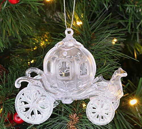 CHRISTMAS CONCEPTS 10cm Brillo Decorado Princesa Carruaje Decoración (Iridiscente, Paquete de 1)