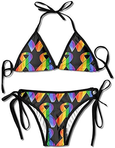 Gay & Lesbian Pride Rainbow Ribbo Sexy Womens Wrap Top Bottom Bathing Suit Bikini Swimwear 2 Piece Sexy SwimsuitOne Size