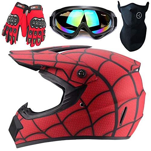 Casco Spider-Net, Casco Da Motocross Per Uomo Con Occhiali Guanti Maschera DOT Bambini Casco Integrale Per Bici Moto Casco Fuoristrada MTB Caschi ATB Per Adulti Giovani Uomini Donne Bambino,S