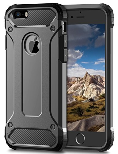 TERF, custodia per cellulare Apple iPhone 5, iPhone 5S, iPhone SE. Custodia antiurto robusta, custodia rigida a doppio strato slim fit, per iPhone 5, 5S, SE Grey iPhone 5 / 5S / SE