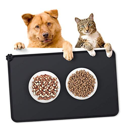 Openg Napfunterlage Hund Katzennapf Unterlage Katzenfutter Mat Wipe Clean Katzenschüssel Mat wasserdichte Haustiermatte Silikonmatte Für Hunde Black