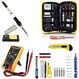 Magneto Tools - Ensemble fer à souder - Kit pistolet à souder mis à jour - Idéal pour électricité, bijoux et soudure -Mulitmètre numérique, tournevis, support de fer à souder - Lot de 14 pièces - Superbe cadeau