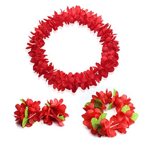 Hawaiian Luau red flower Leis Jumbo necklaces bracelets headband set