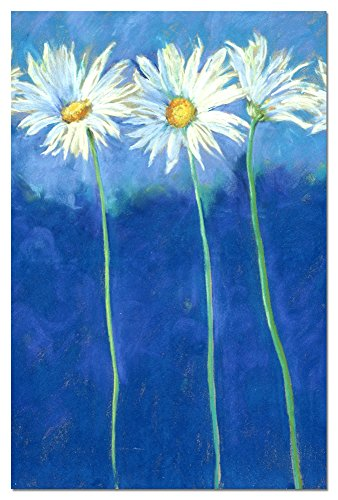Daises on Blue Blank Boxed Note Cards With Envelopes, All Occasion (12 Count), Cute Floral Notecards for Flower Lovers, FS66585 Tree-Free Greetings