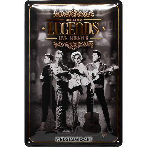 Nostalgic-Art Retro Blechschild Legends Live Forever – Geschenk-Idee für Nostalgie-Fans, aus Metall, Vintage-Design zur Dekoration, 20 x 30 cm