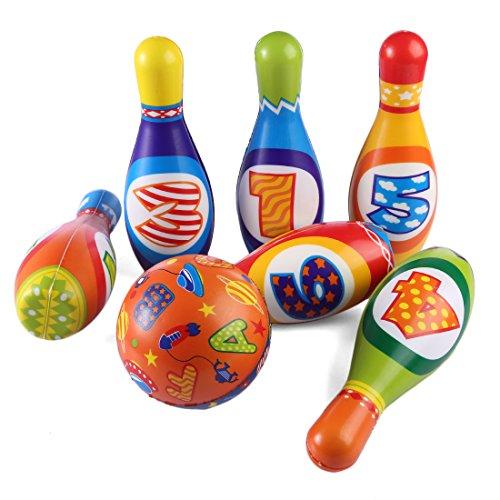 Batop Kinder Bowling Kegelspiel Spiele aus Schaumstoff, 6 Bowlingkugel und 1 Bälle Kegelspiel Set Geschenk Spielzeug für Kinder ab 3 + Jahre