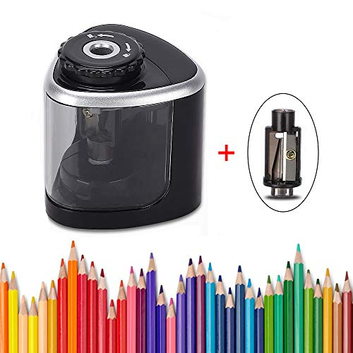 Electric Pencil Sharpener Blade to Fast Sharpen,Battery-Powered and Easy to Use for Classroom Supplies (6-9mm) in School (black)