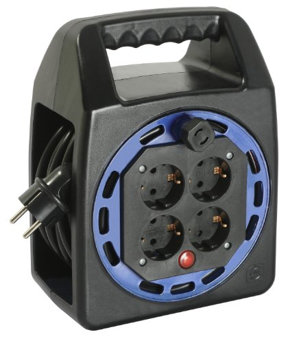 as - Schwabe Kunststoff Kompakttrommel 230 V – Kabel-Trommel mit 25 m Kunststoffmantelleitung inkl. Schutzkontaktstecker – Verlängerungs-Kabel mit 4 Schutzkontakt-Steckdosen – IP20 I 16423