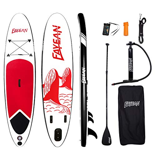 FAYEAN Stand Up Paddle Board 10'x28 x6 Round Board Include Hand Pump, Paddle, Backpack, Coil Leash,Carry Bag, Repair Kit and Waterproof Case (Red Whale)