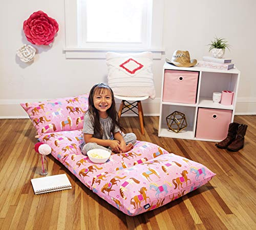 Wildkin Kids Pillow Lounger for Boys and Girls TravelFriendly and Perfect for Sleepovers Requires 4 Standard Size Pillows Not Included Measures 695 x 27 Inches BPAFree Horses