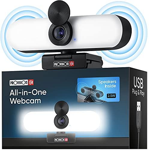 Provision ISR All-In-One Web-Cam mit Mikrofon und Lautsprecher, Streaming Kamera für YouTube, Videokonferenzen und Video-Anrufe, 60fps Full-HD Face-Cam 1080p mit Licht, USB-Anschluss und Cover