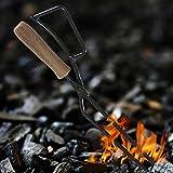 Tiajilehu 2個暖炉トングBBQチャコールシザーズウッドシザーズユニークな形の創意工夫のデザインと耐久性のある人間工学に基づいたバーベキューカーボンクランプ暖炉トングBBQチャコールシザーズウッドシザーズパティオルーフ屋内と屋外セルフサービスバーベキューに使用