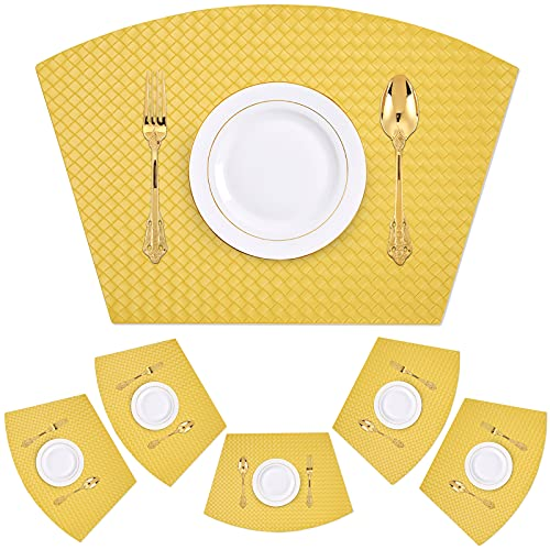 Homaxy Faux Leather Strip Placemats for Round Tables