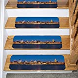 American Stair Mat,Midtown Manhattan and The Empire State Building at Night,for Outside and Indoor Stairs,7-Pack/8.5x27.5in
