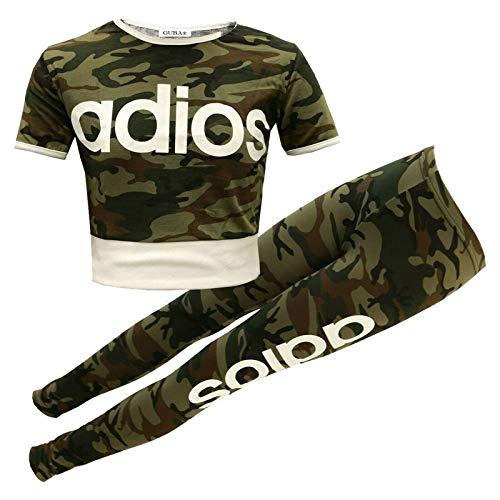 Guba® Mädchen-Top und Leggings, 2-teiliges Set, Camouflage, 7-13 Jahre Gr. 11-12 Jahre, Adios Khaki Camoouflage