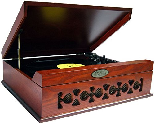 Pyle Home PVNTT6UMR Vintage Style Phonograph/Turntable with USB-To-PC Connection (Mahogany)