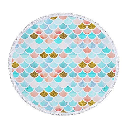 Muium(TM) Toalla de playa, esterilla de yoga, 150 cm, mandala, artesanal, borla, redonda, bufanda, tapestry, mantel de picnic, manta para colgar, manta de picnic, hecha a mano
