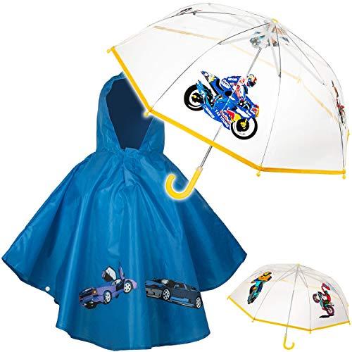 alles-meine.de GmbH 2 TLG. Set: Regenschirm + Regenponcho - Motorrad & Bike & Auto - Kinderschirm - Ø 78 cm - durchsichtig & durchscheinend - transparent - Regencape - Kinder - 2..