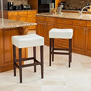 Christopher Knight Home Duff Backless Ivory Leather Bar Stools (Set of 2), WhiteBrown