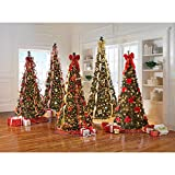 BrylaneHome Fully Decorated Pre-Lit 7 1/2' Pop-Up Christmas Tree, Red Gold