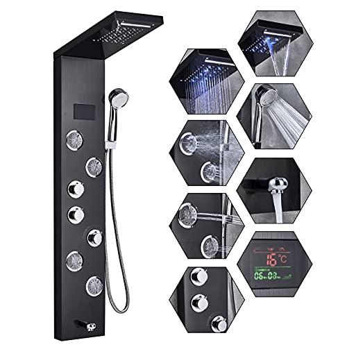 TVTIUO Panel De Ducha LED Columna de Hidromasaje Ducha,5 Función con Pantalla LCD 4 boquillasSistema de Ducha Montaje en Pared Acero Inoxidable,Negro