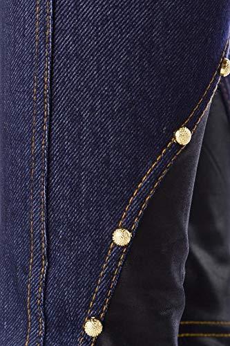 Atixo leggings met klinknagels en wetlook-inzetstukken - blauw