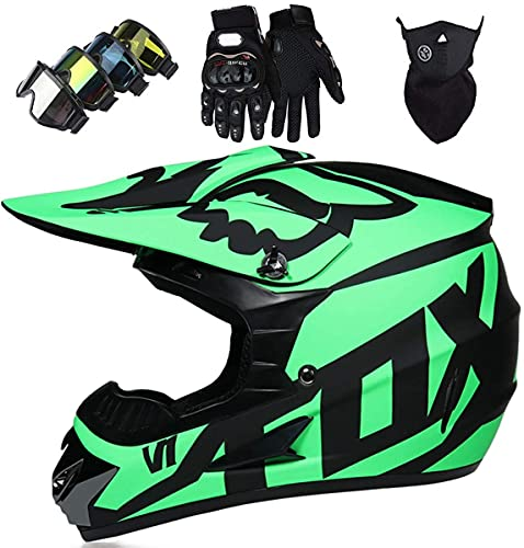 Kids Motocross Helmet, JMY-01 Youth Adult Electric Dirt Bike Full Face Motorbike Helmet Set for Boys Girls Quad Bikes BMX Bicycle MTB ATV Offroad DH Helmet with Fox Design - Matte Black Green, (M)