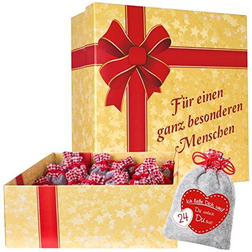 """Adventskalender """"Für einen ganz besonderen Menschen"""" mit 24 Filzsäckchen """"Ich liebe Dich, weil ..."""" zum Befüllen und XXL Geschenkschachtel"""