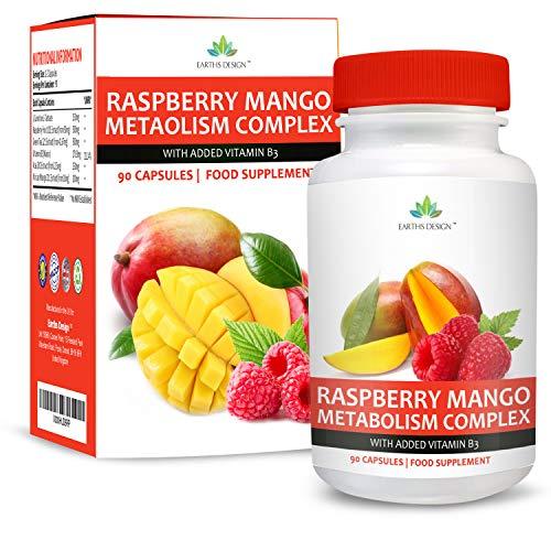 Cetonas de Frambuesa - Complejo de Máxima Concentración con Mango Africano - Con Acetil L-Carnitina, Té Verde y Baya de Acai - Suplemento Para Hombres y Mujeres - 90 Cápsulas de Earths Design