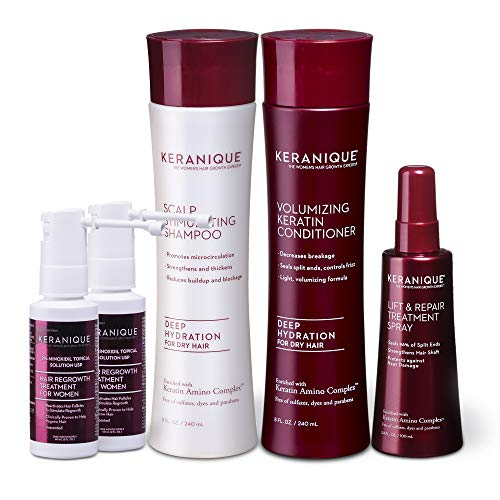 Keranique Hair Loss Treatment System Clinically Proven to Regrow Thinning Hair - Shampoo, Conditioner, Treatment Spray and Minoxidil - Dry Hair Formula; 60 Days, Paraben Sulfate Free