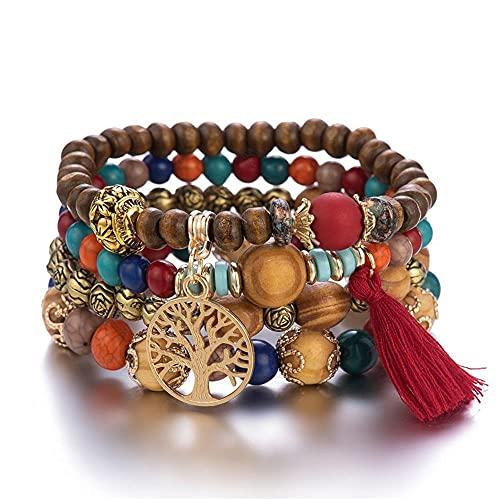Hinleise Pulsera bohemia de múltiples capas pulsera de madera con cuentas de elasticidad pulsera de joyería regalo para las mujeres